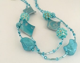 Blue Beaded Long Strand Necklace