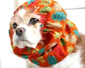 Autumn Leaves Dog Snood - Stay-Put 3 Rows Elastic Thread - Long Ear Coverup - Cavalier King Charles or Cocker Snood