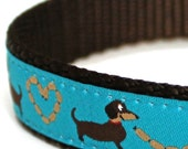 Dachshund Lovers Dog Collar / Blue Wiener Dog, Adjustable Dog Collar