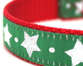 Green Glitter Stars Dog Collar, Christmas Pet Collar, Festive Dog Collar, Holiday
