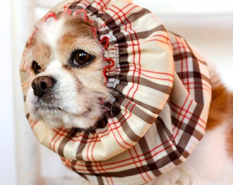 London Plaid Waterproof Dog Snood,  Stay-Put 3 Rows Elastic Thread, Long Ear Coverup