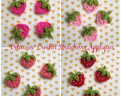 6pcs - Strawberry Crochet Appliques -choose your own colors - fine acrylic yarn - made to order