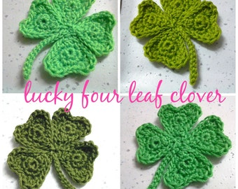 1pc - Four Leaf Clover shamrock Crochet Appliques-choose your color - made to order