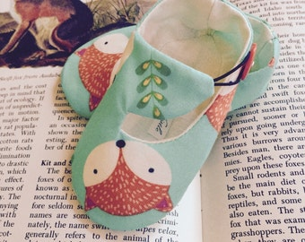 Woodland Fox Baby Shoes, Aqua Soft Sole Baby Shoes, Modern Baby Booties, Toddler Slippers - Unique Baby Shower Gift