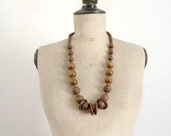 Vintage Années 70 Collier en Perles de Bois / Collier Bohème Gipsy