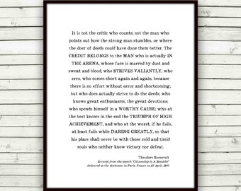 Man in the Arena Quote Print, graduation gift for him, Roosevelt, Teddy, inspirational