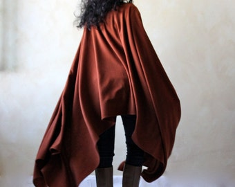 Maxi poncho, women poncho, wool poncho, winter clothing, draped poncho, women cloak, boho clothing, women clothing, wool shrug, wool shawl