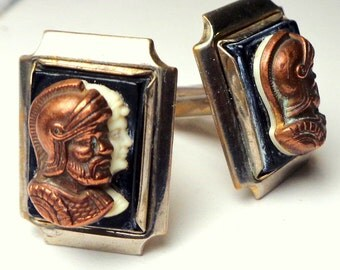 Antique Roman Soldiers Cameos, Studs/Cufflinks,Signed, Edwardian Mens Formal Wear, Prom, Fathers Day,Wedding Mens Wear