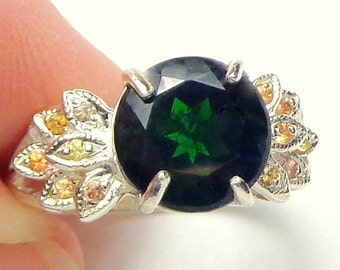 RARE Gem, Russian, Green Chrome Diopside Ring, Fancy Color Sapphire Accents, Sterling Silver Ring, Natural Gemstone, OOAK