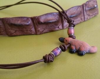 Australian Platypus Mirage Pendant Leather Necklace