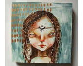 folk art Original girl painting Goddess mixed media art painting on wood canvas 6x6 inches - Seeker of a new world