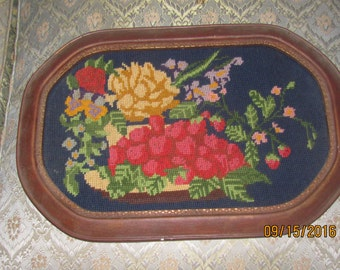 REDUCED Vtg Art Deco Wood Framed Floral Roses Bouquet Completed Needlepoint Victorian Picture Frame