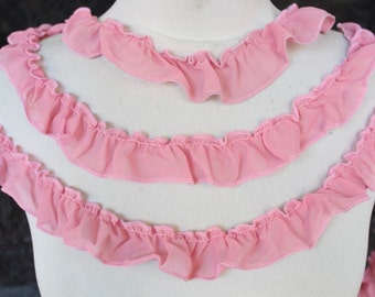 Cute  ruffled  chiffon  trim  pink   color  2 yards listing