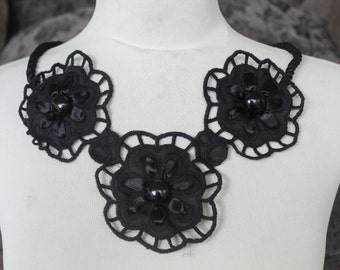 Cute embroidered  and beaded lower  applique  black color    1 pieces listing