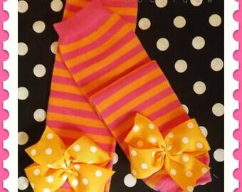 Baby girl leg warmers with bows, leggings, birthday girl, socks
