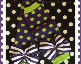 Polka dot leg warmers with bows, Halloween outfit, baby girl, toddler, costume