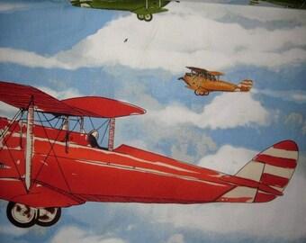 1 Yard LARGE AIRPLANES Cotton Fabric Huge Print