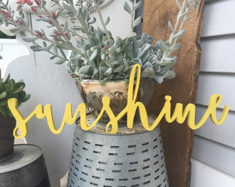 Sunshine painted Word Wood Cut Wall Art Sign Decor