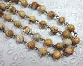 8mm Facted Natural Color Picture Jasper with Antique Cooper Wire Chain // Beaded Gemstone Jewelry Chain // Unfinished Chain