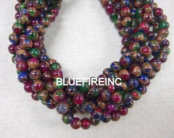 32pcs 12mm Emerald Green/ruby red/ blue Golden Vein Jade Round Stone Beads