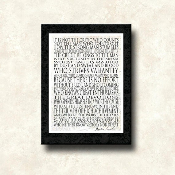 Man in the Arena - 16x20 Canvas Word Art Print - other options Print, Mounted Print, Greeting Card - Theodore Roosevelt