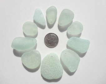 Drilled Genuine Hawaii Beach Sea Glass 10 Top Drilled Seafoam Beads Jewelry Quality 19-34mm In Length