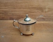 Antique Sterling Silver Salt Dip with Sterling Silver Spoon