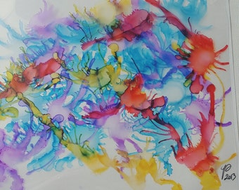 HAPPYNESS original alcohol ink painting 28cm x 22cm artwork on aceo