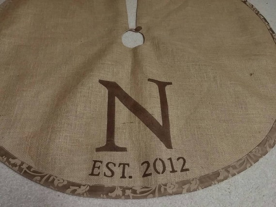Brown personalized burlap Christmas tree skirt