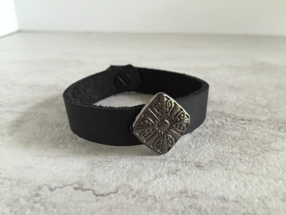 Women's Black Leather Thin Bracelet with Charm