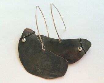 Free Form Dangle Earrings, Brass Dangle Earrings,