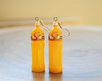 Orange juice Kitty bottle earrings