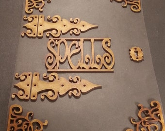 Wicca witchcraft.  Mdf chipboard Craft Frame Embellishments. 2mm Engraved mdf.  Spell book. Journal art, mixed media
