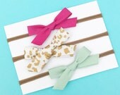 Mini Handmade Bias Tape Bows on Nylon Headband Set of Three Baby Accessory Gold White Leopard Print, Pink and Mint
