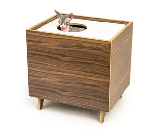 Mid Century Modern Cat Litter Box Furniture | LARGE Cat Litter Box Cover |  Top Entry