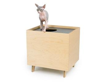 "Mid Century Modern Cat Litter Box Furniture | LARGE Cat Litter Box Cover | Top Entry Litter Training System | ""MOD BOX"""