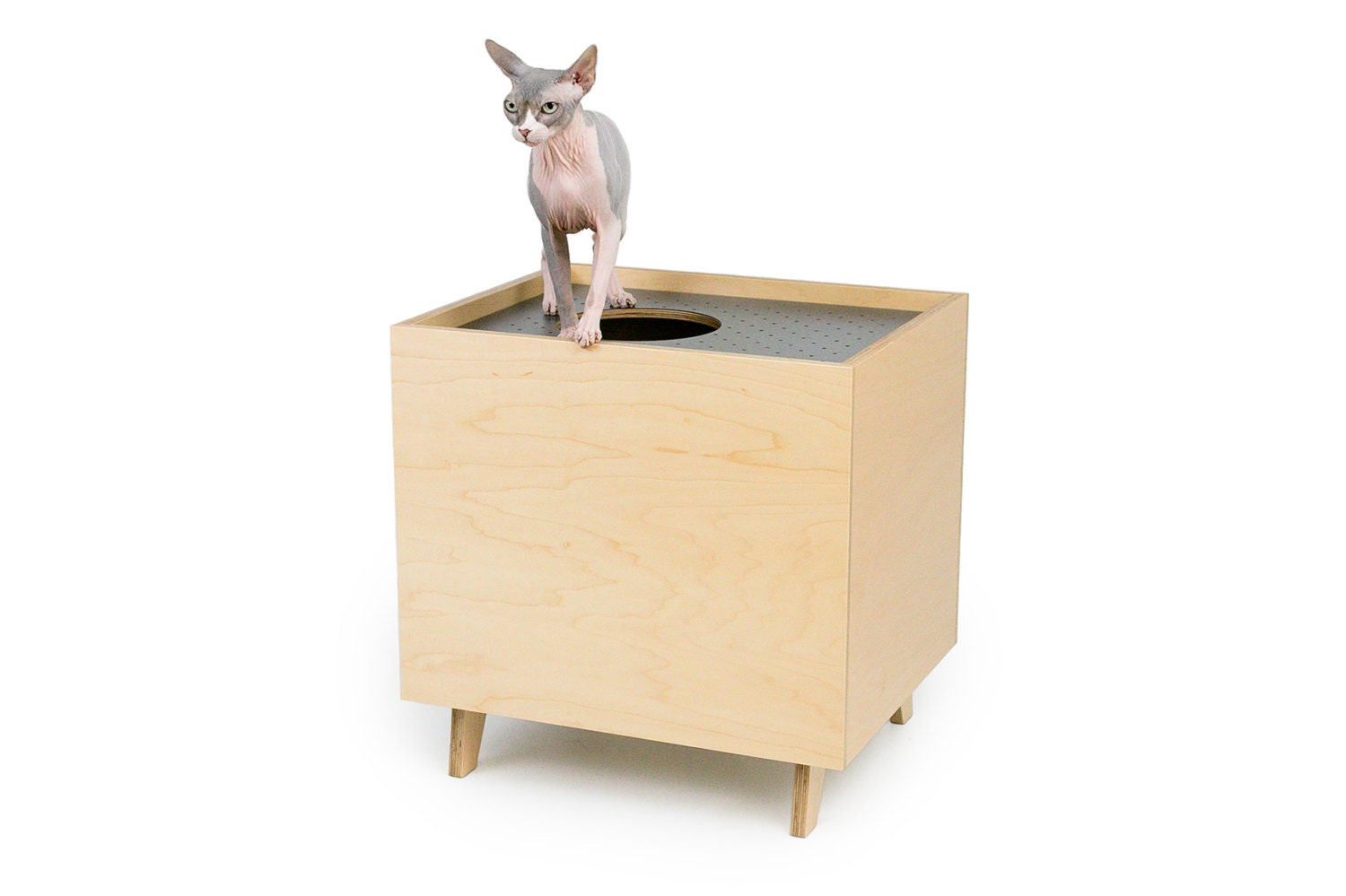 Mid century modern cat litter box furniture large cat litter - Modern kitty litter box ...
