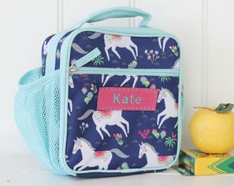 Lunch Bag With Monogram Classic Style Pottery Barn -- Navy Happy Horses