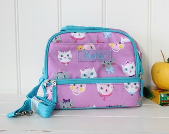Personalized Lunch Bag -- Pottery Barn Dual Compartment  -- Lavender/Aqua Kitty