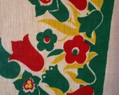 """Vintage 1950s Tablecloth~45"""" x 50""""~Stylized Tulips and Flowers~Cotton Crepe~Cute"""