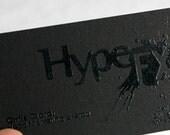 200 Business Cards - black  raised ink - 14PT black matte stock -  custom printed