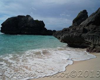 Bermuda Beach Jobson's Cove turquoise water beach island - 5x7 photo matted