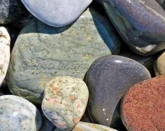 Smooth Beach Stones  Photography Close-up - Gray Red Blue