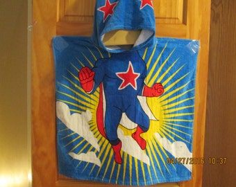 Poncho style hooded beach towel-boys-Super Hero-personalized