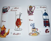 Coffee and Tea themed single rocker light switch covers - Custom order for Candace
