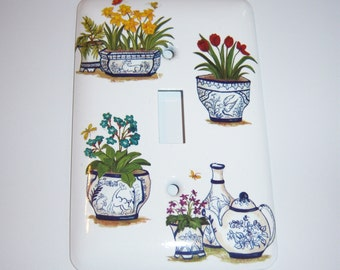 Blue and white flower pots - single light switch cover