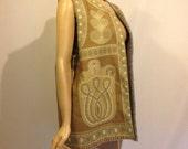 Vintage 1970s Clothkits hippy folkloric print fleece lined jerkin M/L - or waiscoat vest gilet