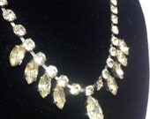 Vintage 1950s navette shaped rhinestone droplet necklace in articulated chain - very sparkly!
