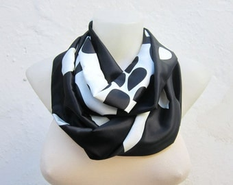 Black White infinity scarf,Loop scarf,Circle scarf, Scarves