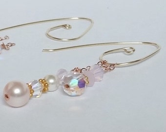 Earrings, Gold Earrings, Swarovski Pink Cream Rose Pearls, Crystals,  BEAUTY
